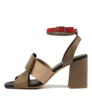 RENARD Heeled Sandals in Khaki/ Multi Leather