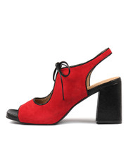 ROLAND Heeled Sandals in Red Suede/ Black Metal Leather