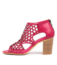 VIABLE Heeled Sandals in Fuchsia Leather