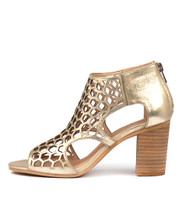 VIABLE Heeled Sandals in White/ Gold Crackle Leather