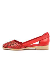 ADRIENE Flats in Red Leather