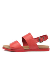 CARINA Sandals in Red Leather