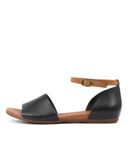 BIMERE Sandals in Navy/ Tan Leather