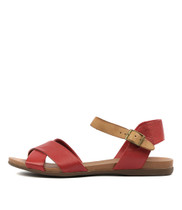 BROSS Sandals in Red/ Tan Leather