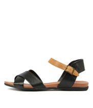 BROSS Sandals in Black/ Tan Leather