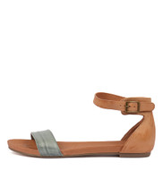 JERE Sandals in Steel/ Tan Leather