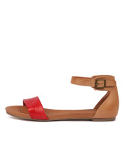 JERE Sandals in Red/ Tan Leather