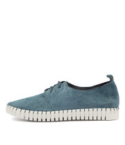 HALBERT Lace-up Sneakers in Denim Suede