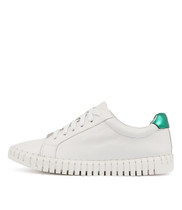 HAYLIE Sneakers in White/ Emerald/ Red Leather