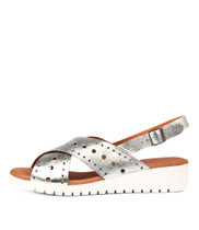 MELIZA Flatform Sandals in Silver Leather