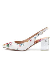 HINNIS High Heels in White Floral Leather
