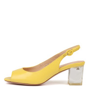 DEBINE Heeled Sandals in Yellow Leather