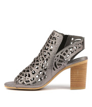 VIMANY Heeled Sandals in Pewter Petrol Leather