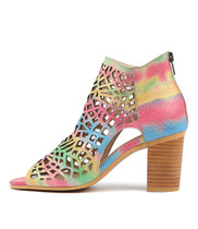 VERLIN Heeled Sandals in Rainbow Leather
