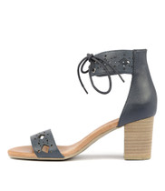 SHERP Heeled Sandals in Navy Leather
