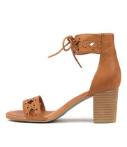 SHERP Heeled Sandals in Dark Tan Leather