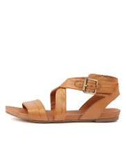 JOBBY Flat Sandals in Tan Leather