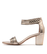CAJUN Heeled Sandals in Champagne Leather