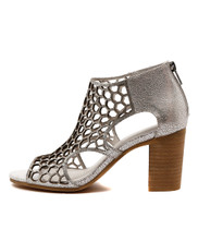 VIABLE Heeled Sandals in Silver Shine Leather