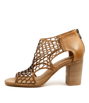 VIABLE Heeled Sandals in Tan Leather