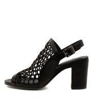 VIKKI Heeled Sandals in Black Leather