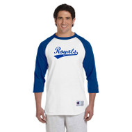 GMB Champion Adult Raglan Tee - White/Team Blue (GMB-015-WH)