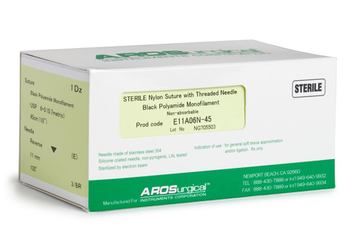 """AROSuture™ E11A06N-45   6-0 Sterile Suture w/ Extra Reverse Cutting Needle Non-Absorbable, Black Polyamide Monofilament Suture, Suture Size 6-0 (0.7 metric), Suture Length 18"""" (45 cm), Extra Reverse Cutting Needle, Needle Length 11 mm, Needle Curvature 135° (3/8 Circle), 12 Per Box."""