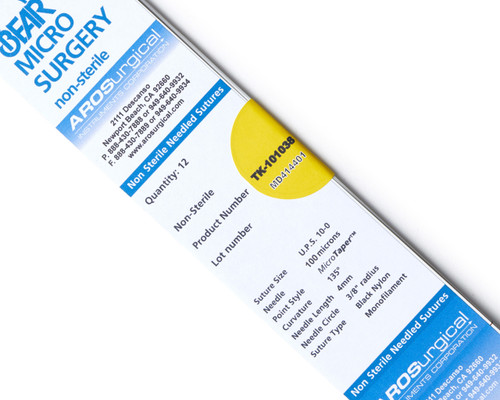 AROSuture™ TK-101038 | 10-0 Non-Sterile Micro Suture, 4mm (100 µ), 3/8 Circle, TAP Point Needle