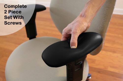 Ultra Soft Ergo360 Memory Foam Chair Armrest Arm Pads Complete 2 Piece Set  With Screws