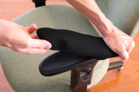 "Installation Of Ergo360 Fitted Neoprene Armrest Covers Over 12"" Chair Arm Pad"
