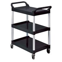 3 Shelf Plastic Utility Cart, Black  60RUB342488BLA-Each