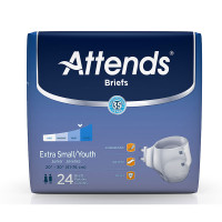 "Attends Adult Extra Absorbent Breathable Brief Youth/Small 20"" - 32""  48BRBX10-Pack(age)"