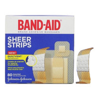 Band-Aid Sheer Strip Adhesive Bandage, Assorted 80 Count  53117134-Box