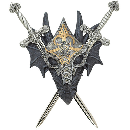 Masked Dragon Double-Sword Wall Crest