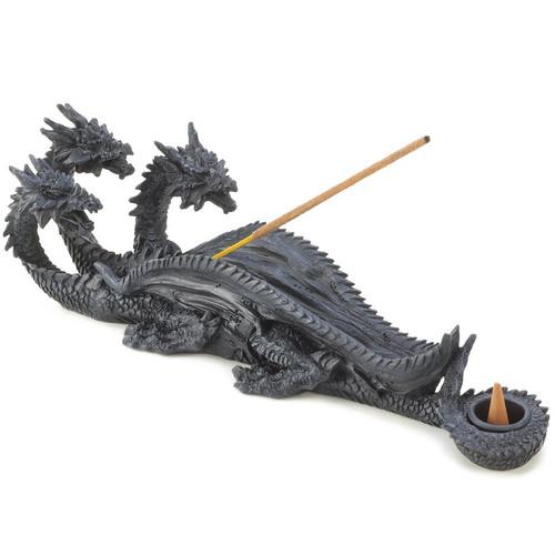 Three-Headed Dragon Cone or Stick Incense Holder