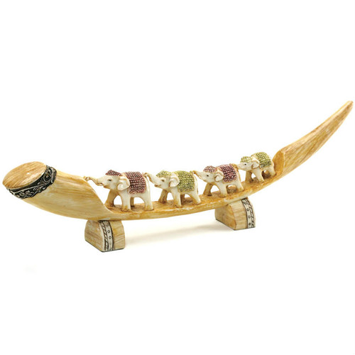 Carved Tusk with Multi-Colored Elephant Family