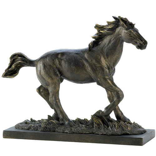 Bronze-Finish Running Stallion
