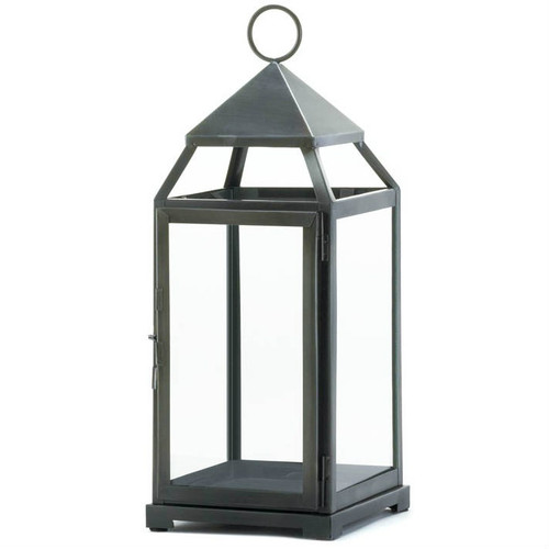 Brushed Silver Modern Candle Lantern - 18 inches