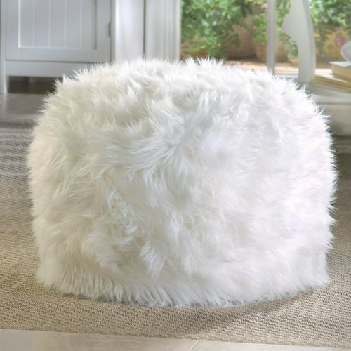 Furry White Ottoman or Seat