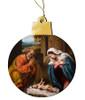 Nativity w/ Reaching Jesus Wood Ornament