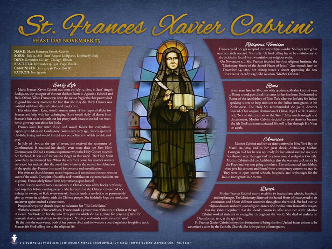 an introduction to the life of frances xavier cabrini Immigrant saint: the life of mother cabrini [pietro di donato, joseph pizzardo]  on  an american saint of our day: mother frances xavier cabrini missionary.