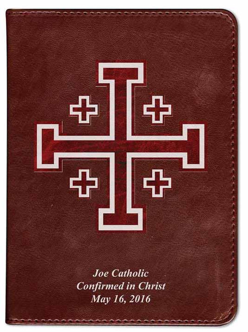 Personalized Catholic Bible with Cross of Jerusalem (Crusader) Cover - Burgundy RSVCE