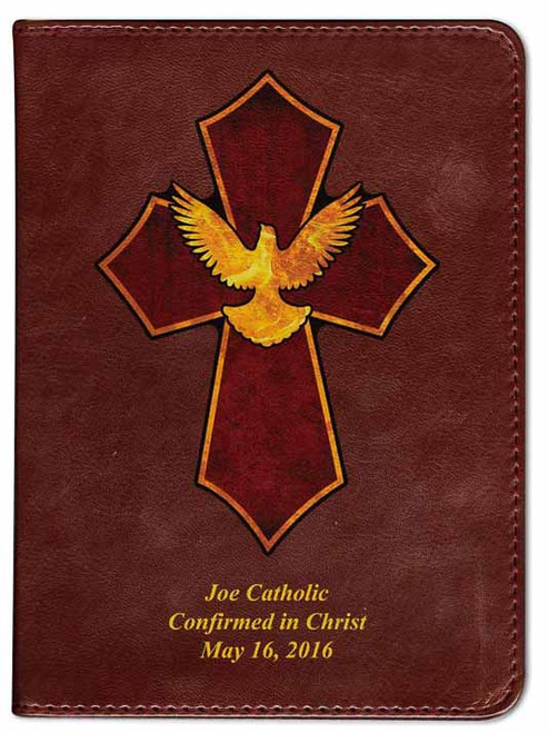 Personalized Catholic Bible with Holy Spirit Cross Cover - Burgundy RSVCE