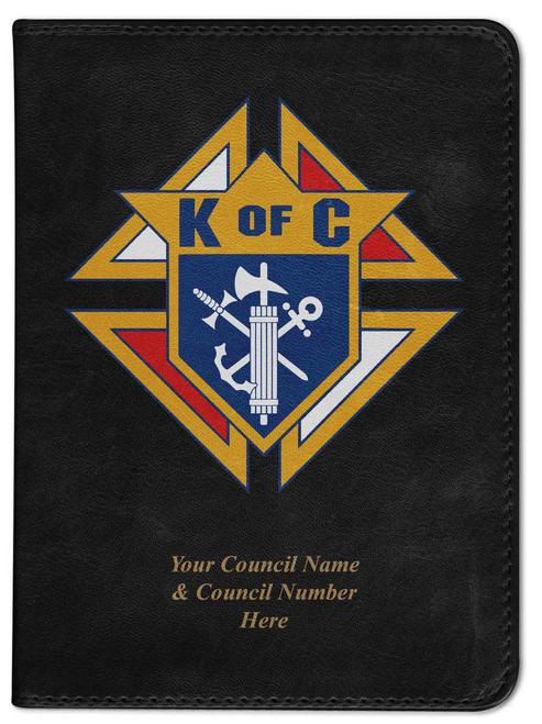 Personalized Catholic Bible with Knights of Columbus Cover - Black RSVCE