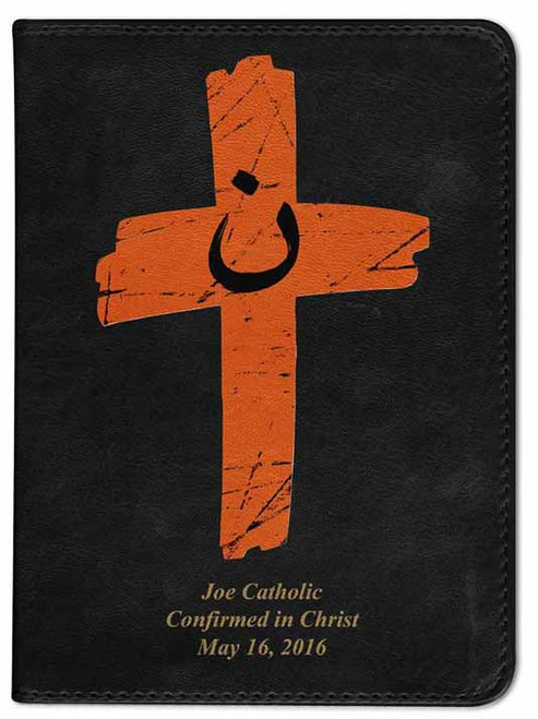 Personalized Catholic Bible with Orange Cross Cover - Black RSVCE