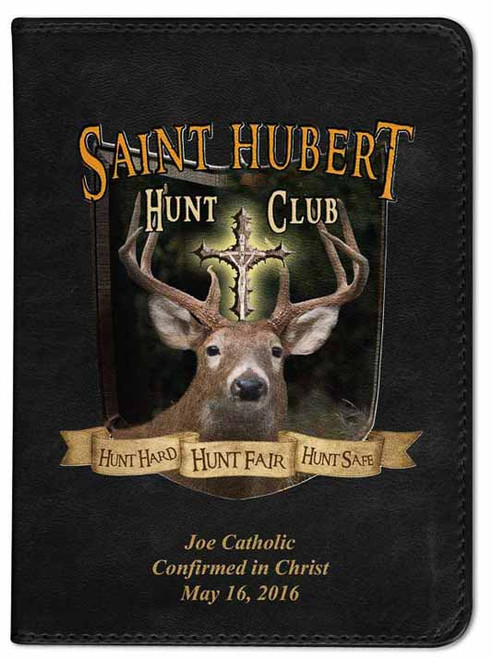 Personalized Catholic Hunter Bible with St. Hubert Cover - Black RSVCE