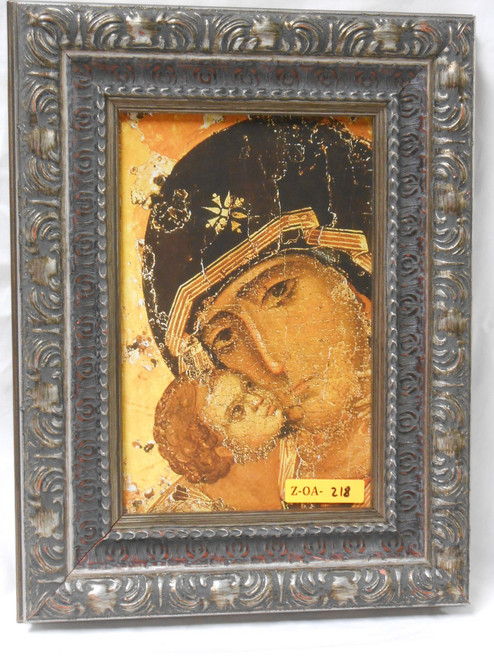 CLEARANCE Our Lady of Vladimir 6x9 Ornate Dark Wood Framed Print