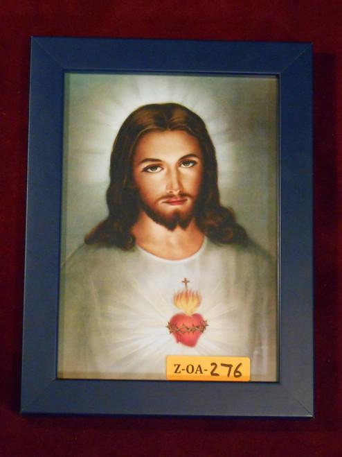 Sacred Heart of Jesus 5x7 Royal Blue Framed Print