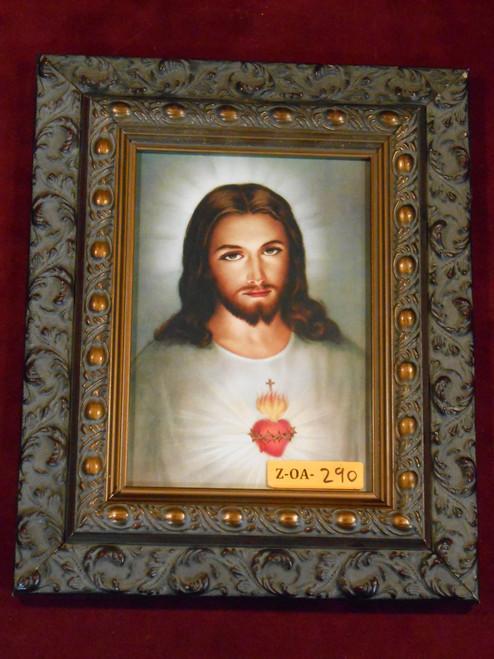 Traditional Sacred Heart of Jesus 5x7 Dark Ornate Framed Print