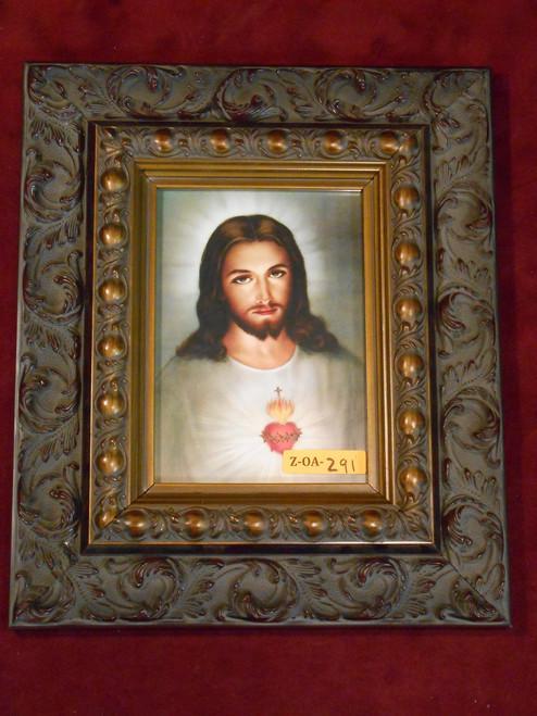 Traditional Sacred Heart of Jesus 5x7 Dark-Ornate Framed Print